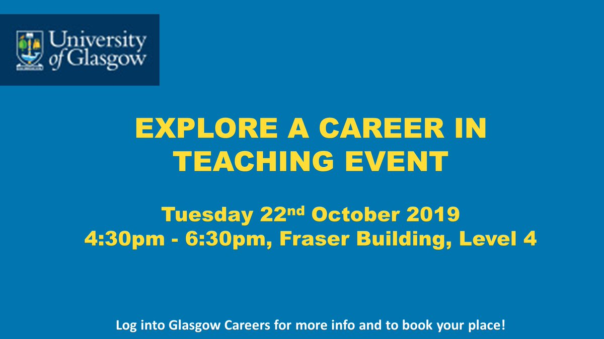 Interested in a career as a secondary school teacher? Come along to this @UofGCareers event to hear first-hand advice from teachers 👩🏫👨🏫  More ➡️ http://ow.ly/Jpal50wOB0n  #UofGCareers