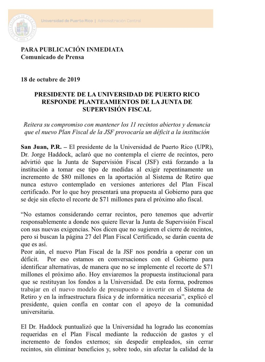 [Comunicado] | Presidente de la @UPR_Oficial responde a planteamientos de la Junta de Supervisión Fiscal (JSF). Reitera su compromiso con mantener los 11 recintos abiertos y denuncia que el nuevo Plan Fiscal de la JSF provocaría un déficit a la institución.
