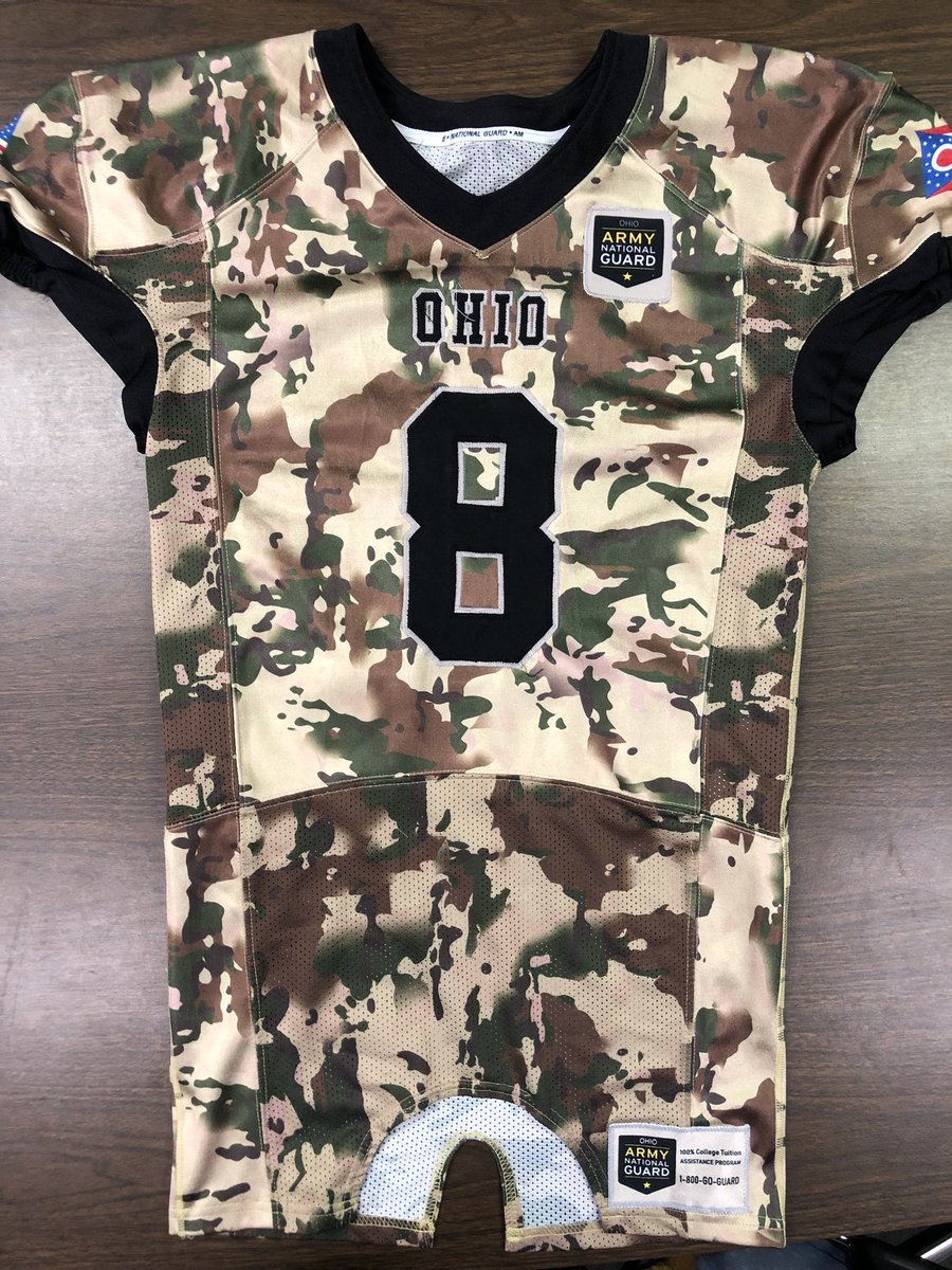 It's week 8!!! The Xenia football team will be wearing these jerseys tonight courtesy of the Ohio Army National Guard! It's Military Appreciation Night! @xeniabucsfb @XeniaSchools @XeniaSupt @OHNationalGuard @Jerry_Snodgrass #OperationBuckeyeGuard #HereComesXenia