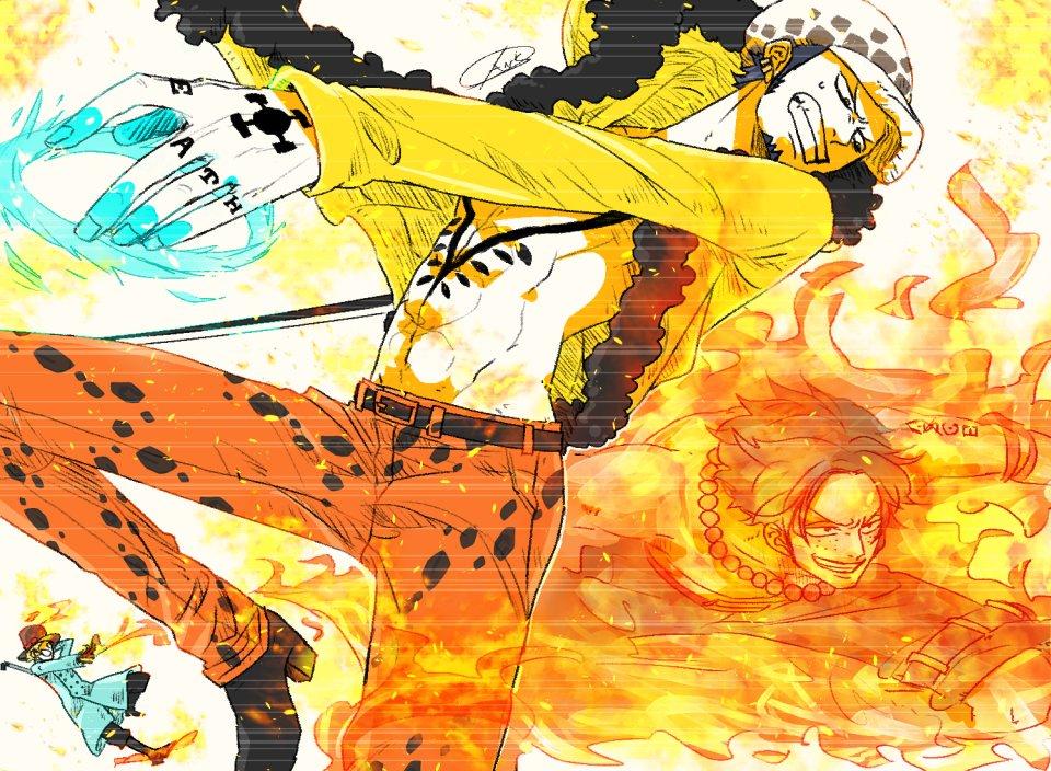 お題:エースとローが共闘してる様なイラスト