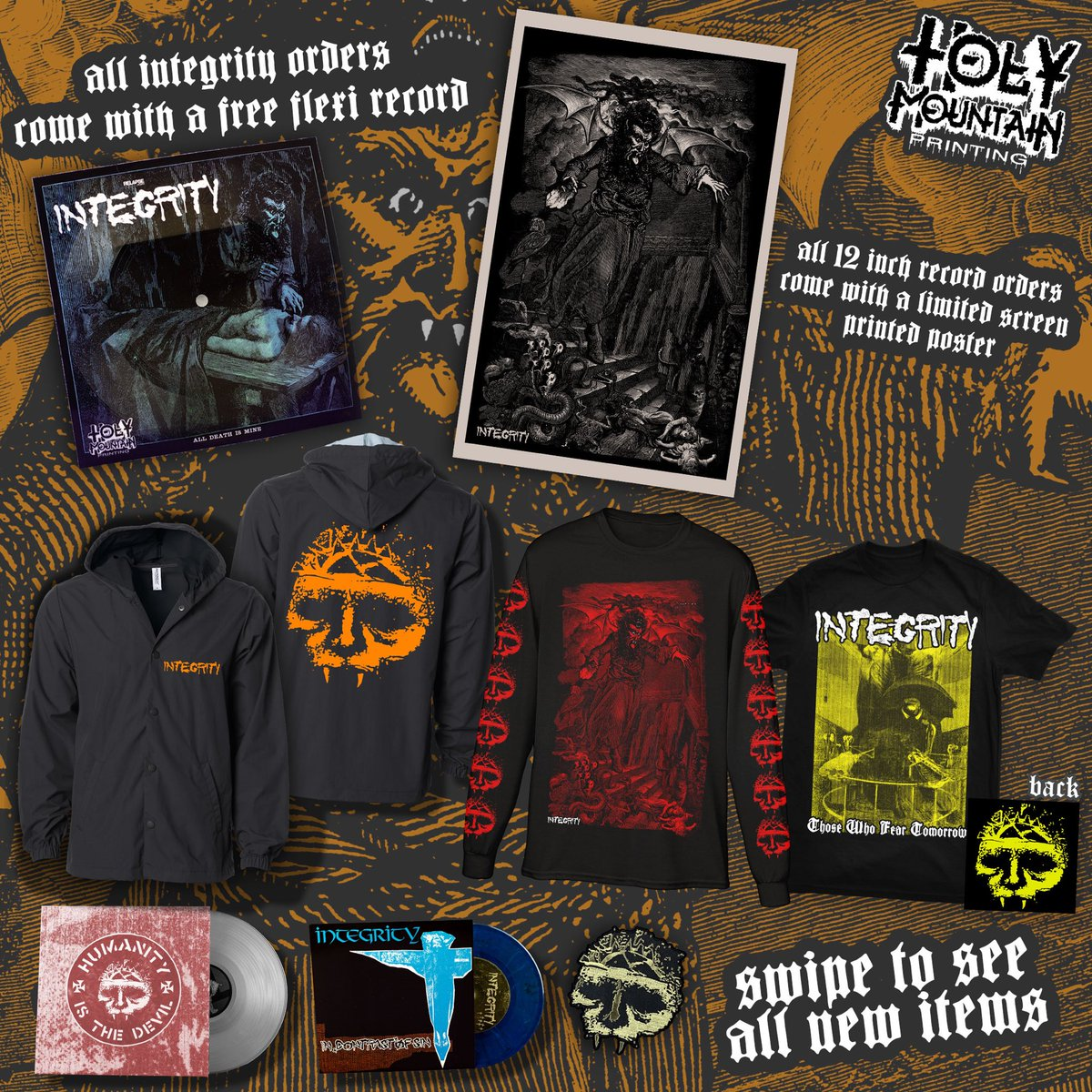 New @INTEGRITY_HT merch and music up at @holymountainnc. Get a FREE flexi or Poster with order!