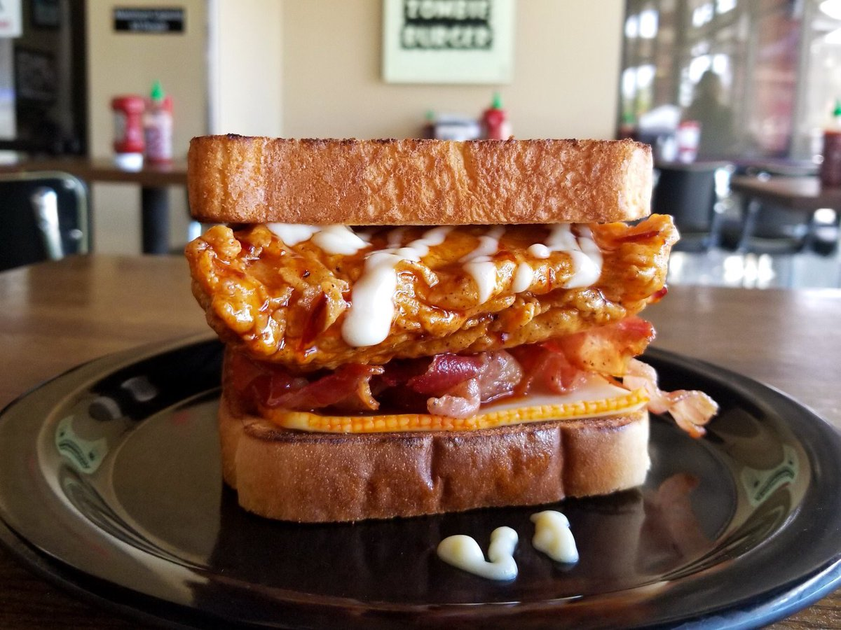 HELLDORADO: Hot honey BBQ-dipped fried chicken, muenster cheese, double bacon, hot honey mayo + Texas toast buns. #ZBoftheWeek FRANKENBERRY CEREAL SHAKE: vanilla ice cream, Frankenberry cereal + strawberry purée (available spiked w/ Tequila Rose strawberry liqueur).
