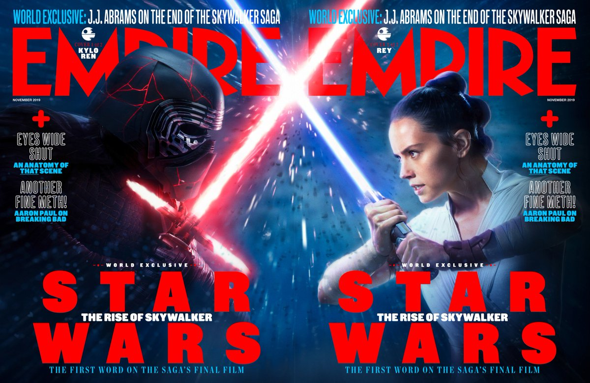 Empire's world exclusive #StarWars: #TheRiseOfSkywalker issue is on sale now! Available in two collectible covers, with brand new images, JJ Abrams, Kathleen Kennedy, and Chris Terrio interviews, and more. Out now at all Resistance and First Order-affiliate newsagents.<br>http://pic.twitter.com/NyiShxelay