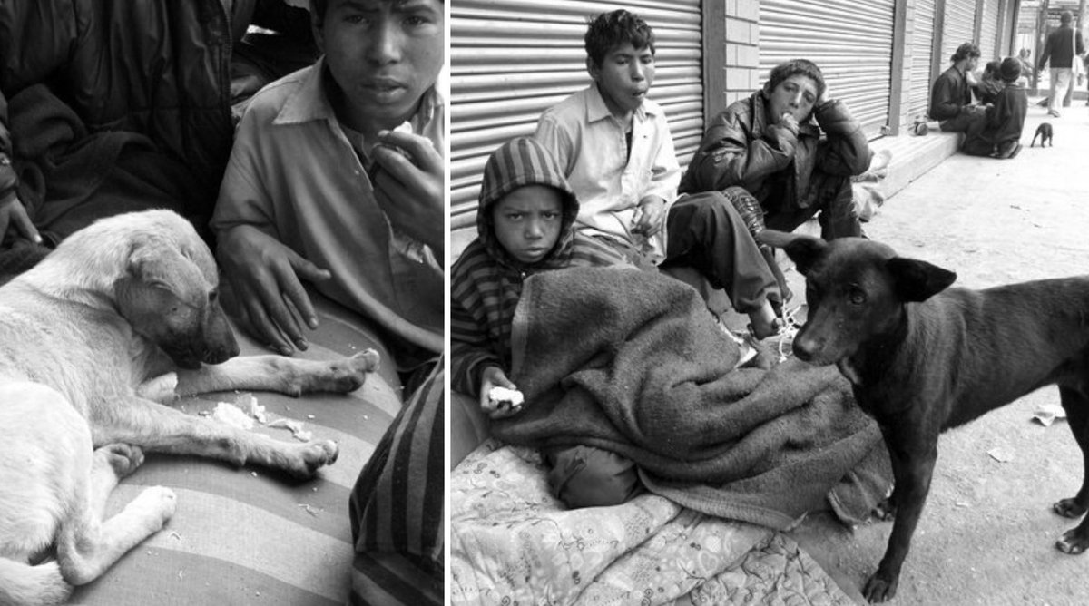 Street Children live and sleep on the streets, with the stray dogs, in the doorways in #Kathmandu #Nepal
