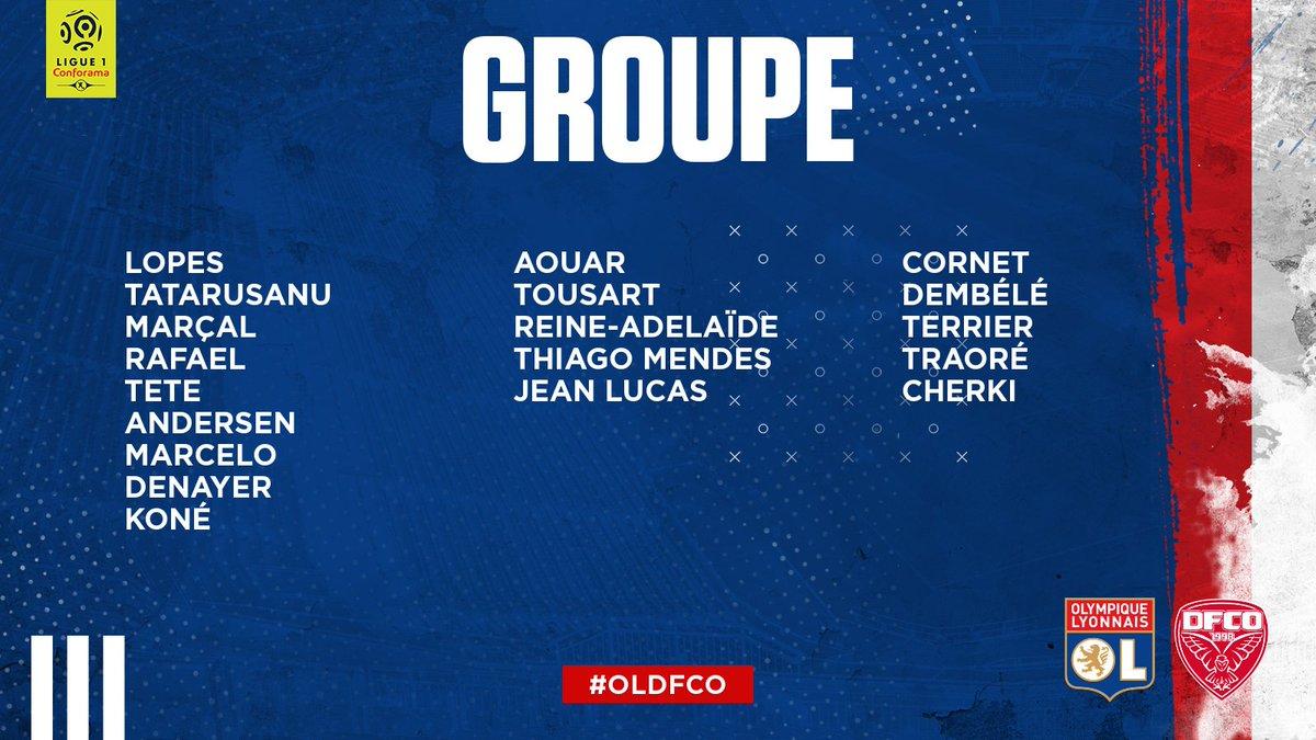 OL : le groupe contre Dijon sans Dubois ni Depay