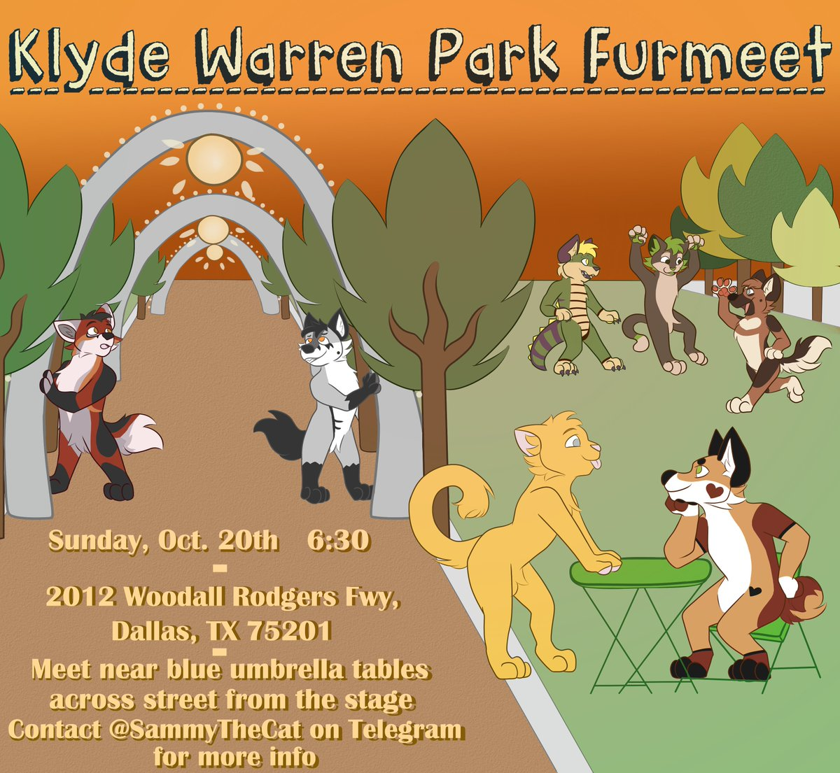 Get excited for this month's Klyde Warren meet! Food trucks, candy, great scenery, and fun with friends! The temperature will also be perfect for fursuiting!   Come join us for a night of fun this Sunday! <br>http://pic.twitter.com/CPsITRHNMq
