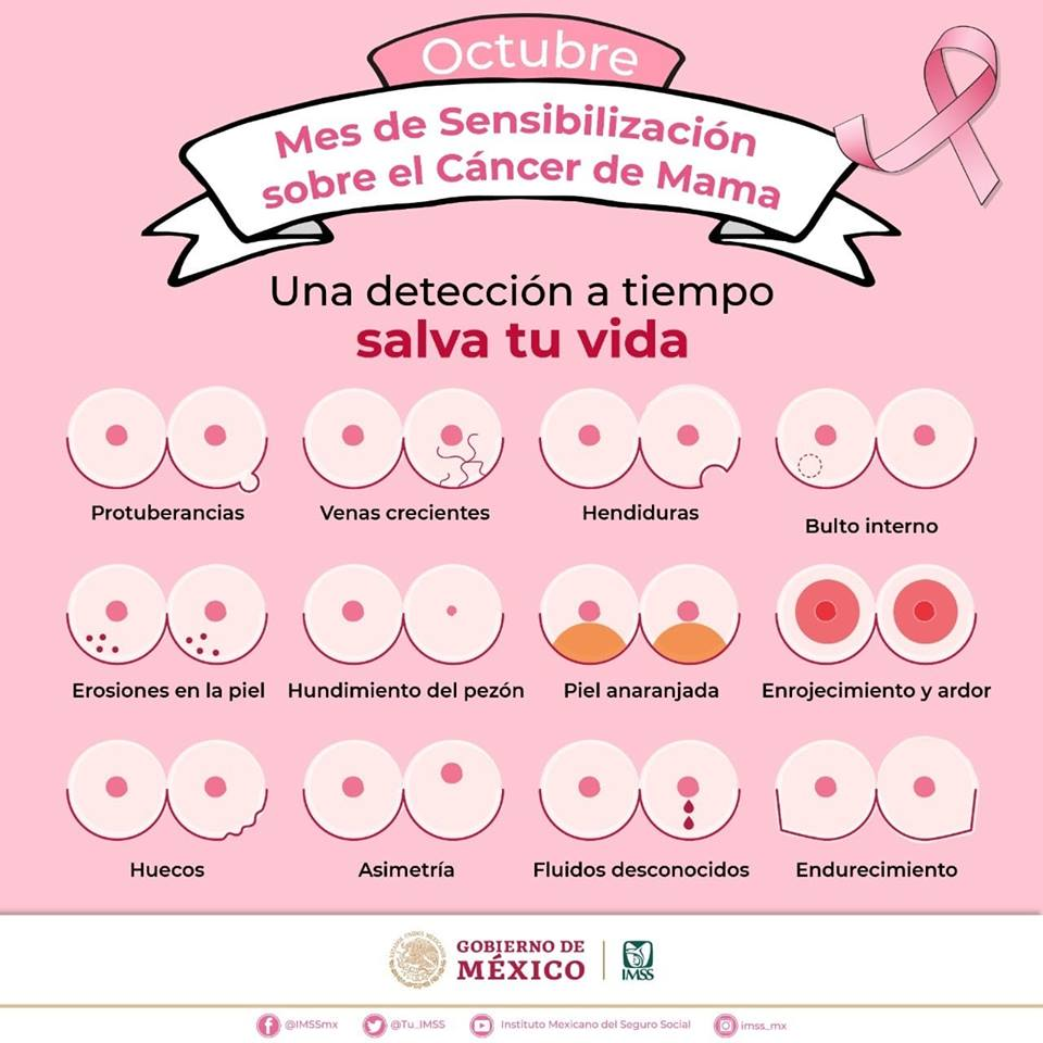 #QueNoSeTeOlvide La detección oportuna de #CáncerDeMama puede salvar tu vida. #OctubreRosa bit.ly/cancermamaimss
