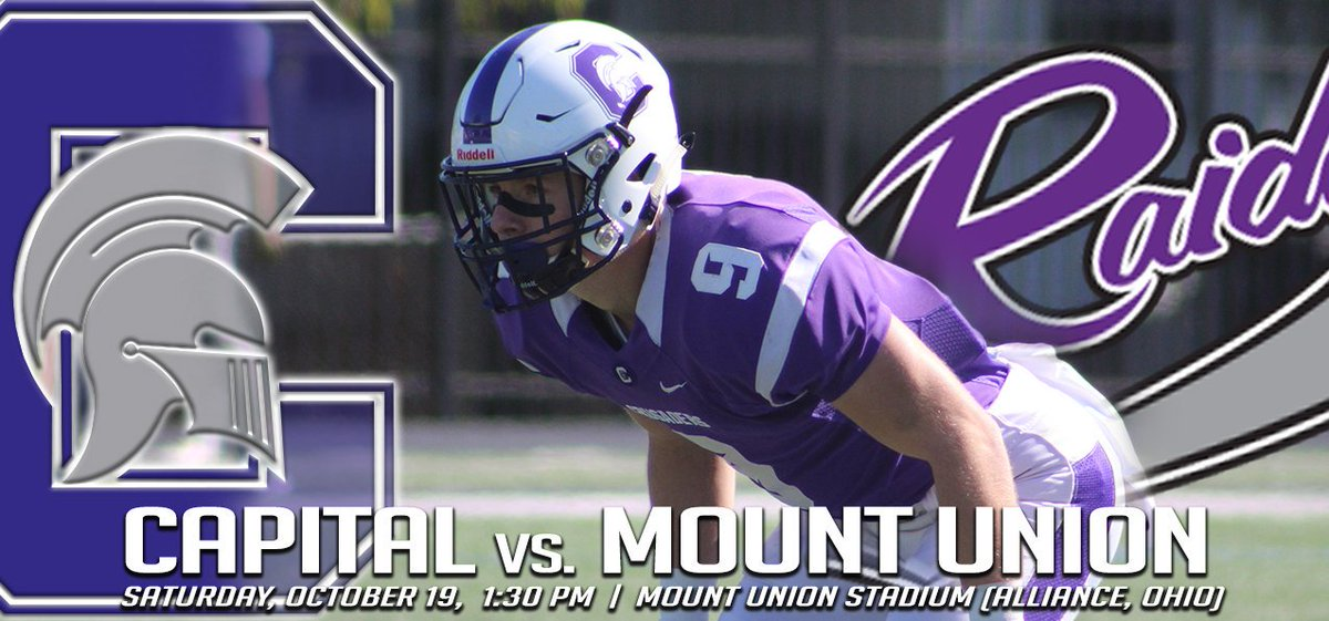 🏈 We hit the road this weekend. It's off to Alliance where @CapitalU_FB will face off against the Purple Raiders of Mount Union. Here's what you need to know heading into the weekend! #capfam #capfootball #OAC  http://athletics.capital.edu/sports/fball/2019-20/releases/20191018iyqpdg…