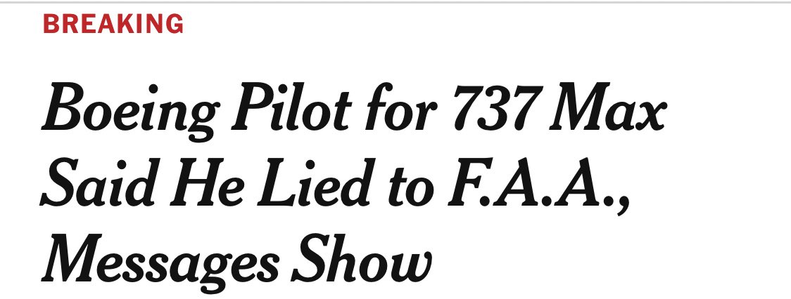(NYT) - A Boeing pilot working on the 737 Max said in messages from 2016 that a new automated system was making the plane difficult to control in flight simulators, more than two years before it was grounded following two deadly crashes. @nytimes $BA nytimes.com/2019/10/18/bus…