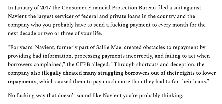 """""""Through shortcuts and deception, the company also illegally cheated many struggling borrowers out of their rights to lower repayments, which caused them to pay much more than they had to for their loans."""""""