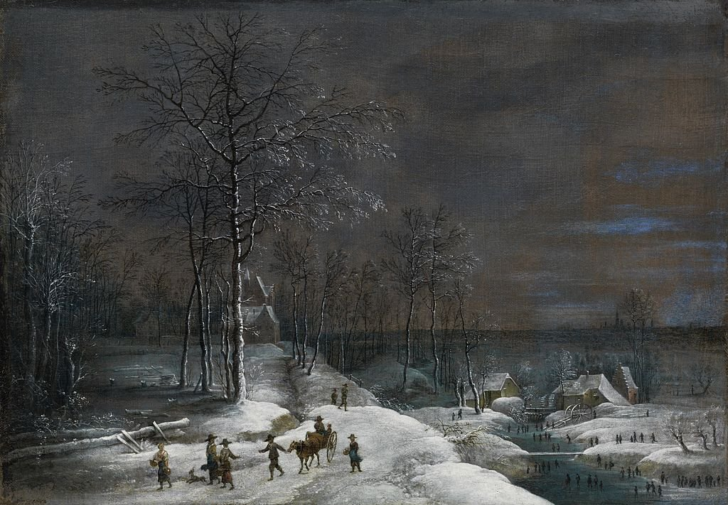 Very, very cold winter. Painted by my colleague Lucas van Uden, whose birthday is today.