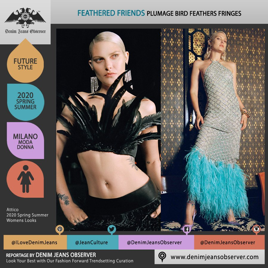 Attico 2020 Spring Summer Womens Lookbook Presentation - Milano Moda Donna Collezione Milan Fashion Week Italy - Out of the Office Disco Bird Feathers Plumage Crop Top Midriff Halterneck Halter Top Dress - Fashion Forward Trendsetting Curation by Denim Jeans Observer