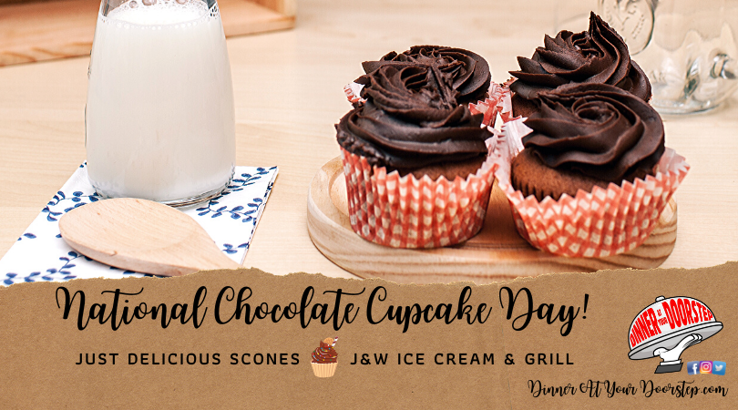Happy #NationalChocolateCupcakeDay ! Celebrate with a delivery from one of our sweet delivery spot options. Just log on, order, pay & answer the door! OR~hey hey!~send a surprise delivery as a gift! We'll even include a handwritten card with words by you! Sweet!🧁#fooddelivery