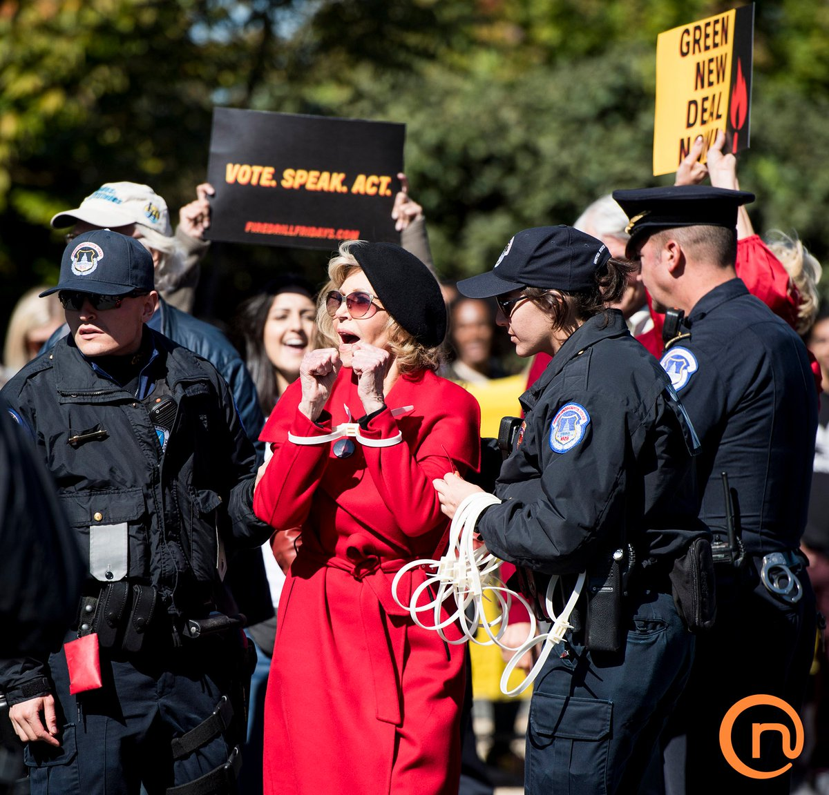 #JaneFonda & #SamWaterston are #arrested at a #protest supporting the #GreenNewDeal in #washingtonDC 10/18/19   rollcallpix122492 Bill Clark #CQ #RollCall #Newscom  #newscomimages #climatechange #climateaction #environment #politics #entertainment #news #graceandfrankie #netflix