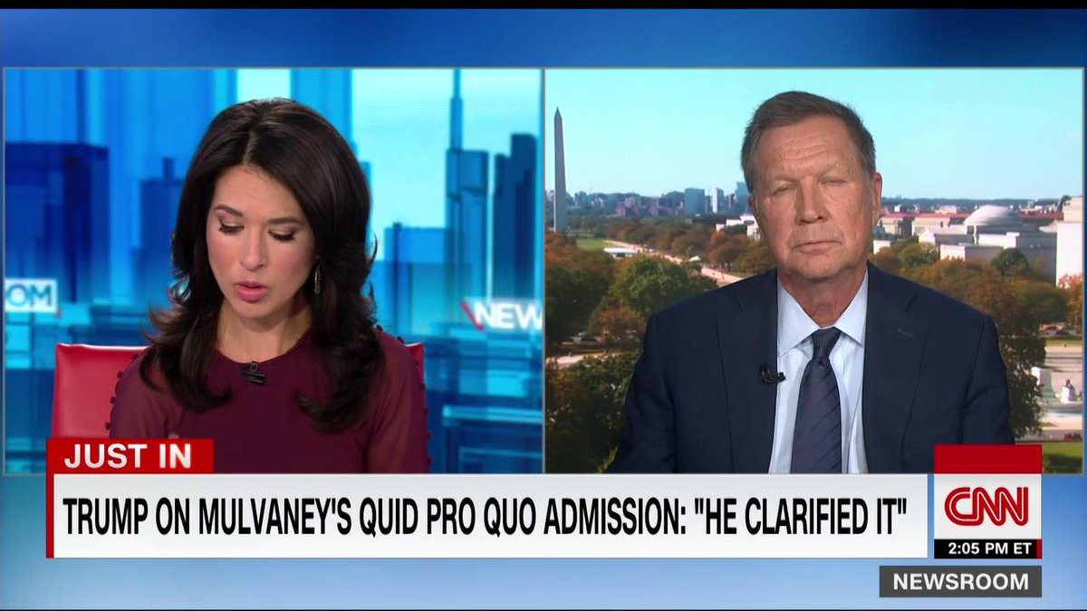 """John Kasich tells Ana Cabrera that Trump should be impeached. """"I say it with great sadness. This is not something that I really wanted to do. ...But this behavior, in my opinion, cannot be tolerated."""""""