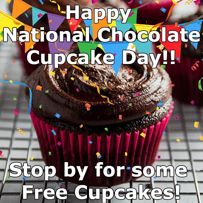 Come celebrate with us! Free cupcakes in honor of National Chocolate cupcake day! #free #chocolate #NationalChocolateCupcakeDay #cupcakes