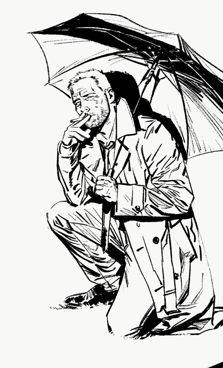 Here's a little #Inktober for you. This is #Constantine observing horrifying fuck up shit. Just another day on the job. #hellblazer #DCBlackLabel #WIP @DCComics @sispurrier