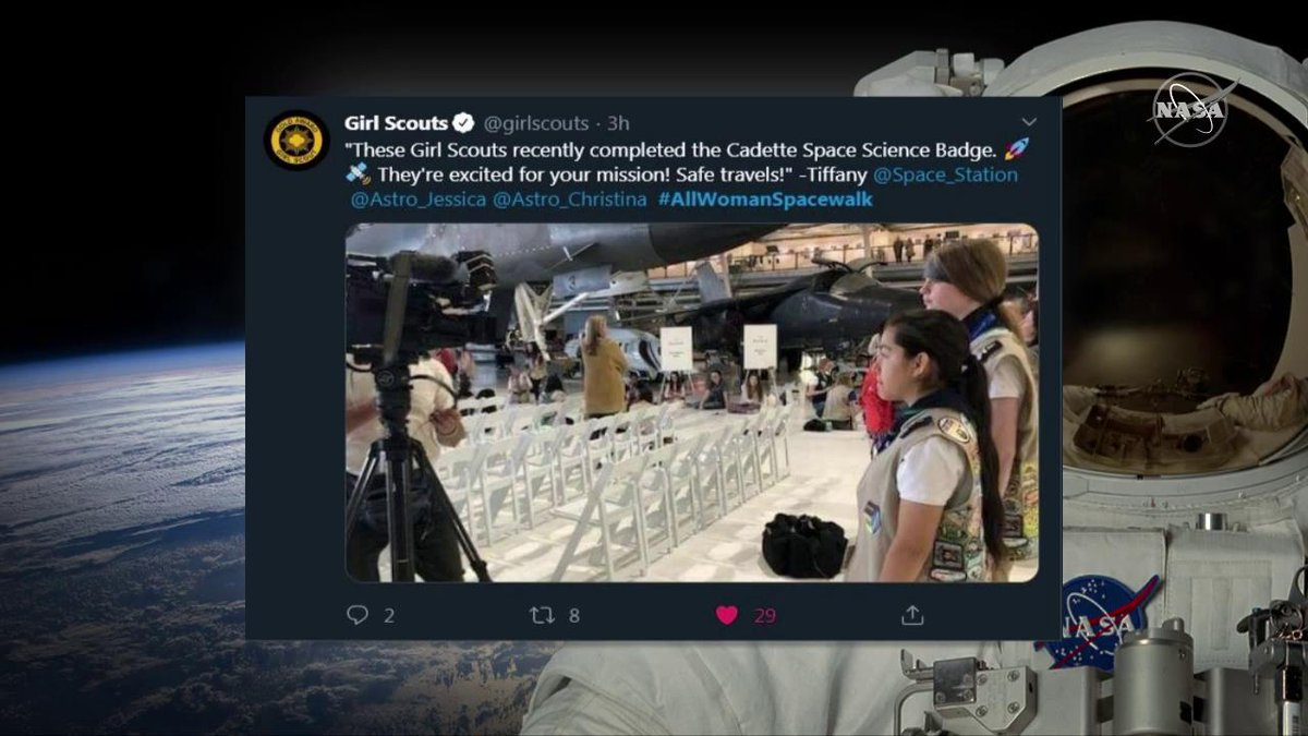 During todays #AllWomanSpacewalk, @GirlsScouts shared well wishes for @Astro_Christina & @Astro_Jessica, both of whom are #GirlScouts alum. Tune in to watch these spacewalkers wrap up todays excursion outside of the @Space_Station: twitter.com/i/broadcasts/1…