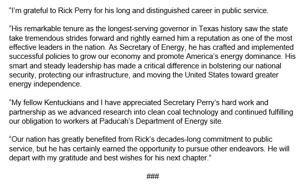 Our nation has greatly benefited from @SecretaryPerry 's decades-long commitment to public service. My statement: republicanleader.senate.gov/newsroom/press…