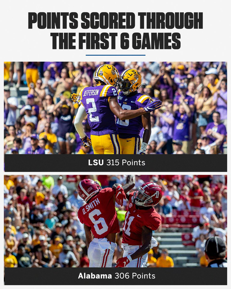 This is the first time in SEC 🏈 history that two teams have scored 300+ through six games!