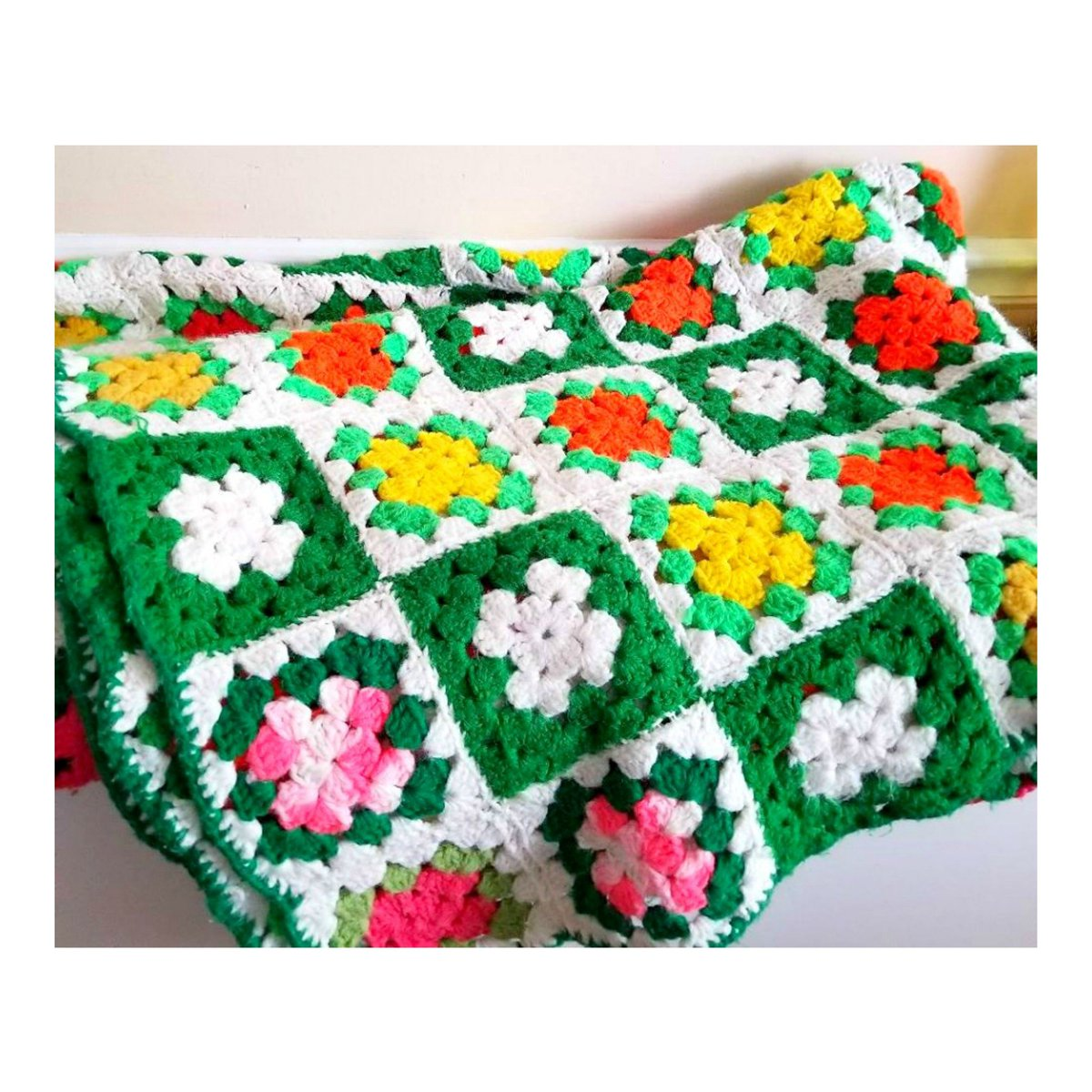 Vintage Handmade Crocheted Granny Square Afghan Throw Blanket, LARGE, 45 x 70 https://etsy.me/2MX8kiJ #housewares #bedroom #bedding #green #yellow #crochetafghan #neonblanket #kitschy #crochetedthrow