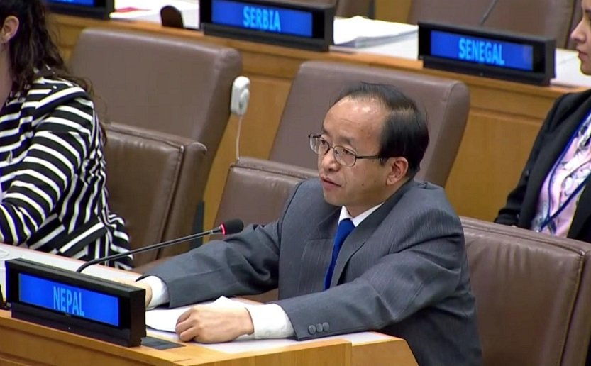 Amb. @amritrai555 reiterated #Nepal's unwavering commitment to the protection and promotion of #HumanRights at the #UNGA74 3C Meeting tdy. Referring to Nepal's candidacy for reelection to #UNHRC member (term 2021-23), he shared Nepal's willingness to contribute more.@MofaNepal