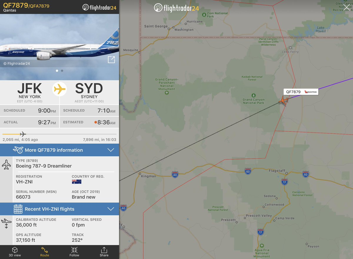 #QF7879 passes over the Grand Canyon, only a few hundred miles more until it exits the continental U.S. Now talking to LA Center (ZLA) #ProjectSunrise