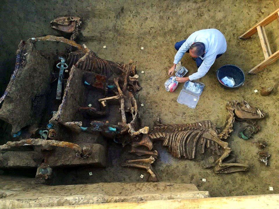 クロアチアで発掘されたローマの戦車チャリオットがほぼそのままの形で出土している