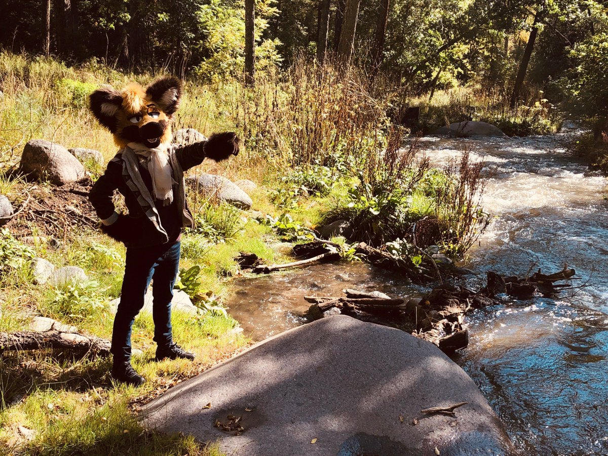 a little late #FursuitFriday exploring more rivers! photos taken by family that wanted to spam filters :p