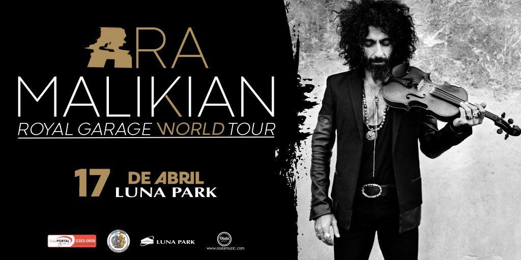 Ara Malikian, el mejor violinista de los últimos tiempos vuelve a Argentina. 17 de abril 2020 en el #LunaPark! Las entradas se pondrán a la venta a partir del domingo a las 20 hs. por sistema Ticketportal, y desde el lunes en boletería del estadio, saludos! #AraMalikian