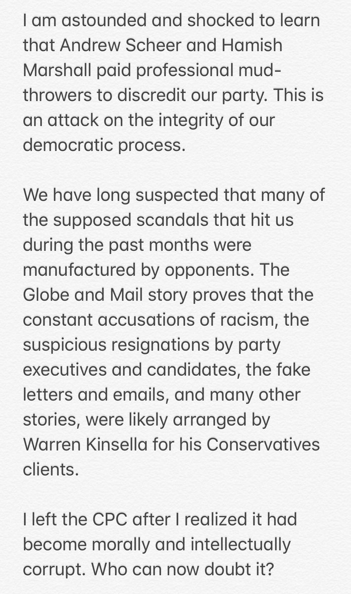 My statement following the revelation by the Globe and Mail this evening that the Conservative Party paid Warren Kinsella's firm to systematically discredit the @peoplespca.