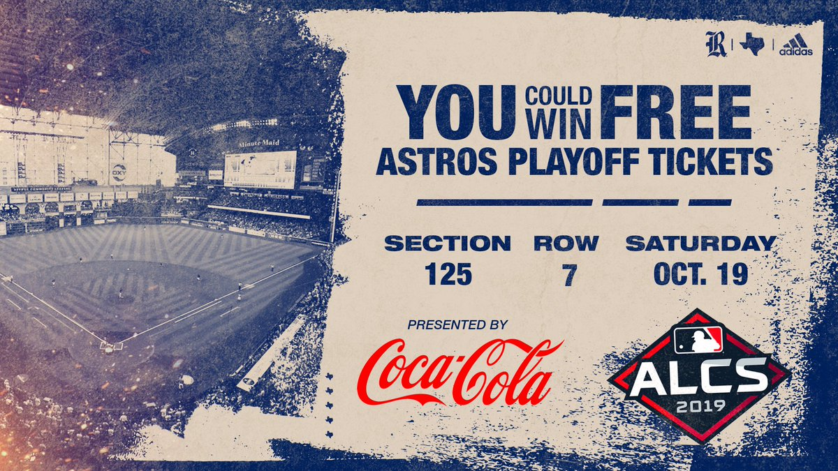 Here's your chance to win FREE @astros playoff tickets!  • Retweet this post! • Register »  http:// RiceOwls.co/AstrosPlayoff     • Attend the game tomorrow night!  #GoOwls x @CocaCola <br>http://pic.twitter.com/bNvVjd8G7R
