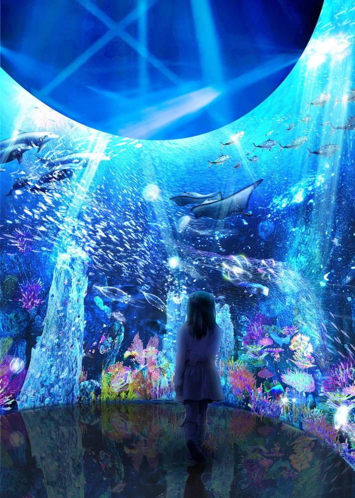 「オーシャン バイ ネイキッド 光の深海展」横浜アソビルで、極彩色の深海世界を巡るデジタルアート -