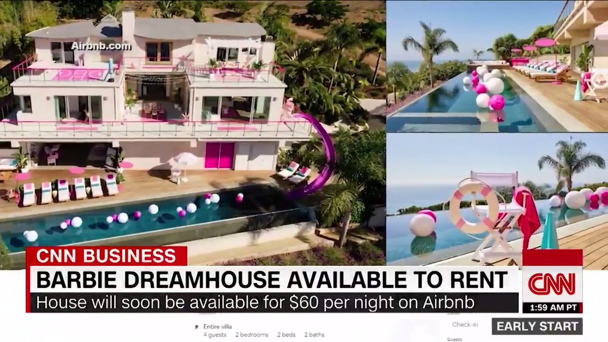 Call three friends, jump in the bubble gum pink Jeep, and hop on the Pacific Coast Highway. The Barbie Malibu Dreamhouse is available to rent. cnn.it/31vd97Q