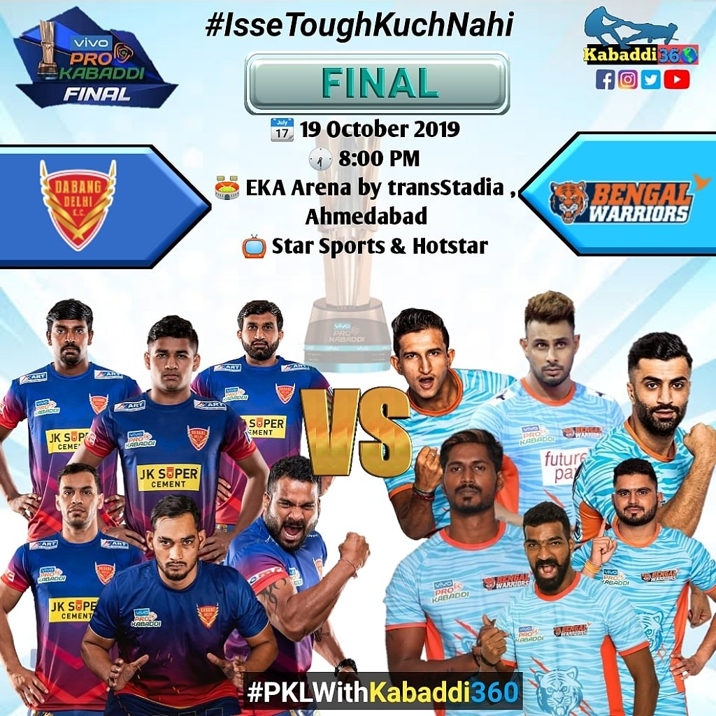 Battle for the 🏆 Will @DabangDelhiKC's Dabang Express 🚅 rail its way to the title? Or will @BengalWarriors 🧱 stomp their way to clinch the trophy? It's #DELvKOL for #vivoProKabaddiFinal 😍  #IsseToughKuchNahi #PKLwithKabaddi360 #FinalPanga