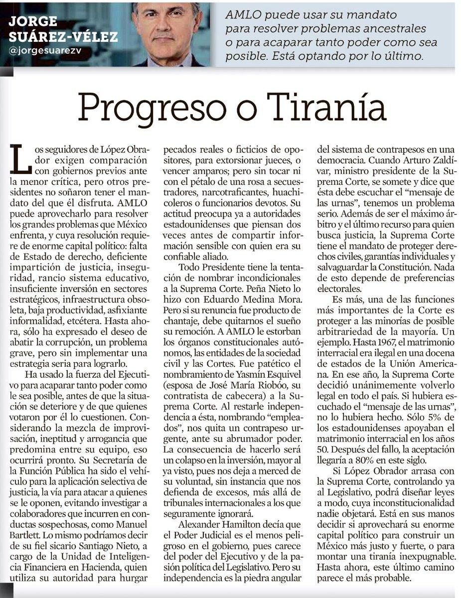 """""""A AMLO le estorban los órganos constitucionales autónomos, las entidades de la sociedad civil y las Cortes."""" : @jorgesuarezv https://refor.ma/cbRuc"""