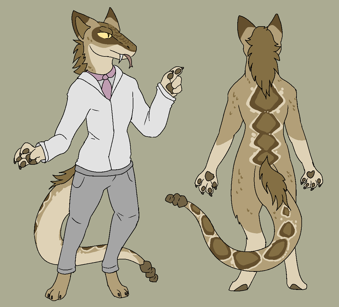 After lurking in the fandom for quite some time, I figured that it might be good for me to jump in and start meeting some new people. So, I came up with an idea for a fursona and commissioned some art of him. Here is his reference sheet made by @TheRoguez.
