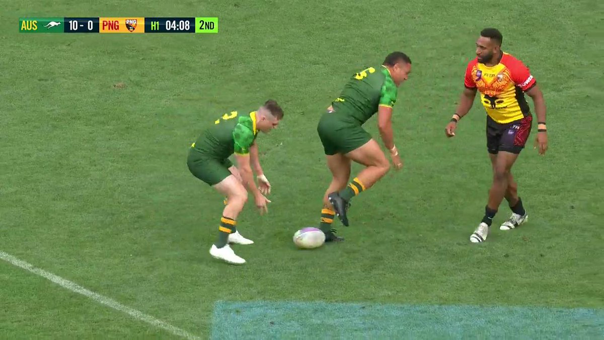 AJ takes them on for his first four-pointer in green and gold! #RLWC9s