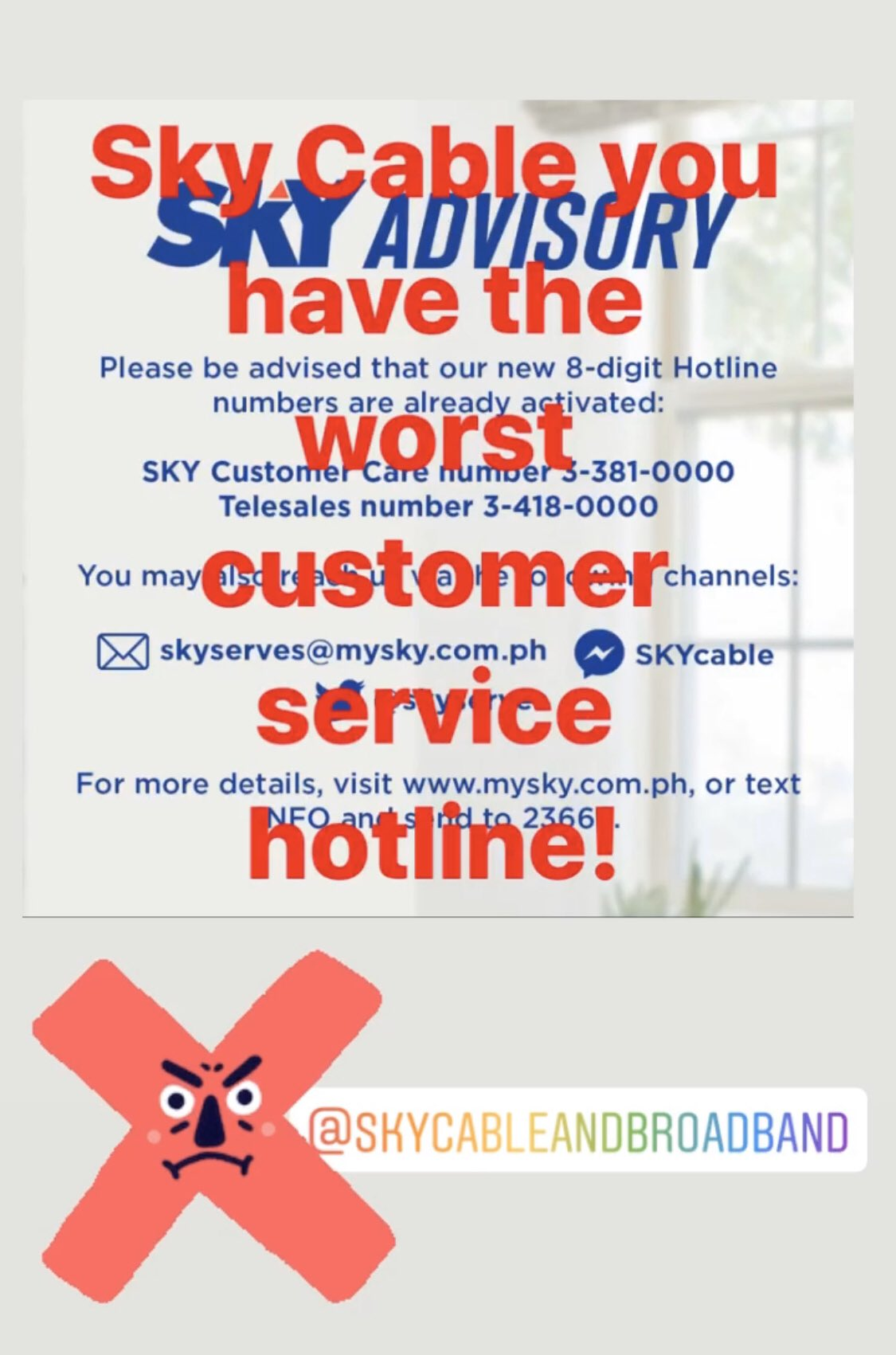 Jhen Almadro On Twitter Skyserves I Have Been Trying To Contact You Thru Your Published Customer Service Hotline All Day Already But I Can T Get Through The Lines Kainis Skycable Kowcho Https T Co Tqyzj4ahci