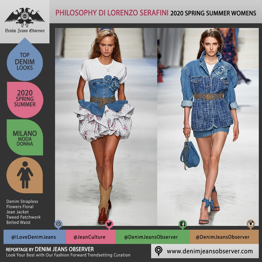 Philosophy di Lorenzo Serafini 2020 Spring Summer Womens Runway Catwalk Looks Collection - Milano Moda Donna Collezione Milan Fashion Week Italy - Princess Stephanie Monaco 1980s Eighties Irresistible Song Denim Jeans Strapless Ruffles Blouse Miniskirt Jacket Tweed Patchwork Trompe L'oeil Flowers Floral Pouch Cowgirl Boots - Fashion Forward Trendsetting Curation by Denim Jeans Observer