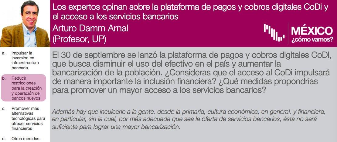 Este mes, los #ExpertosMCV opinan sobre el acceso a los servicios bancarios.📲💵🏦 Para @ArturoDammArnalreducir las restricciones para la creación y operación de bancos nuevos es una posible vía para aumentarlo. Lee su respuesta completa en: https://bit.ly/2pwRoar