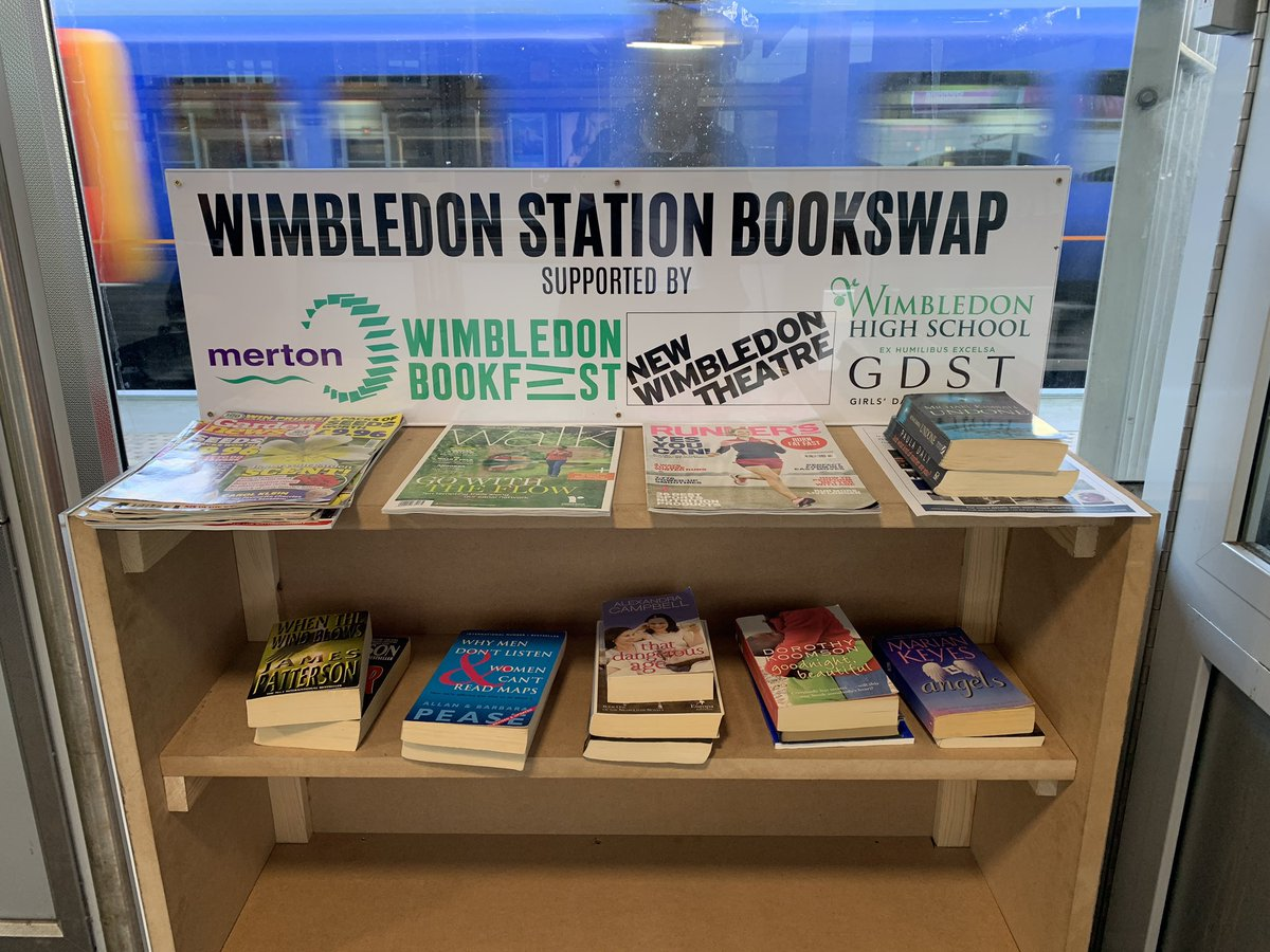 Proud to present our new bookcase which was kindly built for us by the backstage team at @NewWimbTheatre. Please bring your unwanted books to the waiting room on platforms 7/8. #bookswap #wimbledon