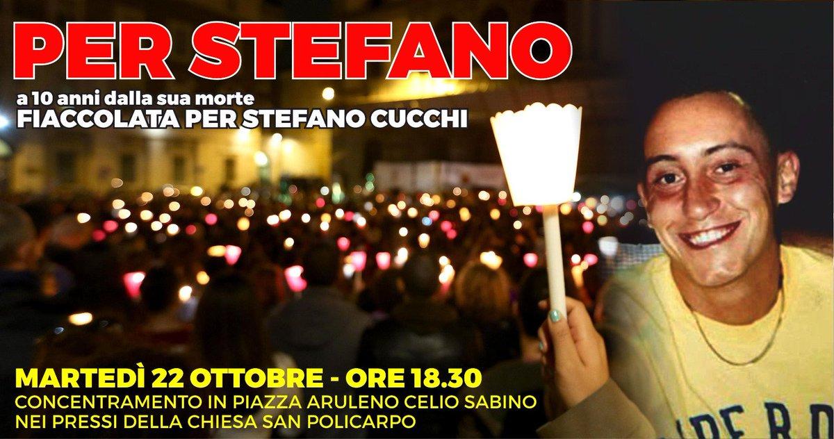 Unitevi a noi il #22ottobre, data nella quale Stefano è morto 10 anni fa. Vogliamo ricordare questo giorno con una fiaccolata per la giustizia e contro la violenza. Lincontro sarà in Piazza Aruleno Celio Sabino alle ore 18.30 a Roma, vicino alla chiesa di San Policarpo