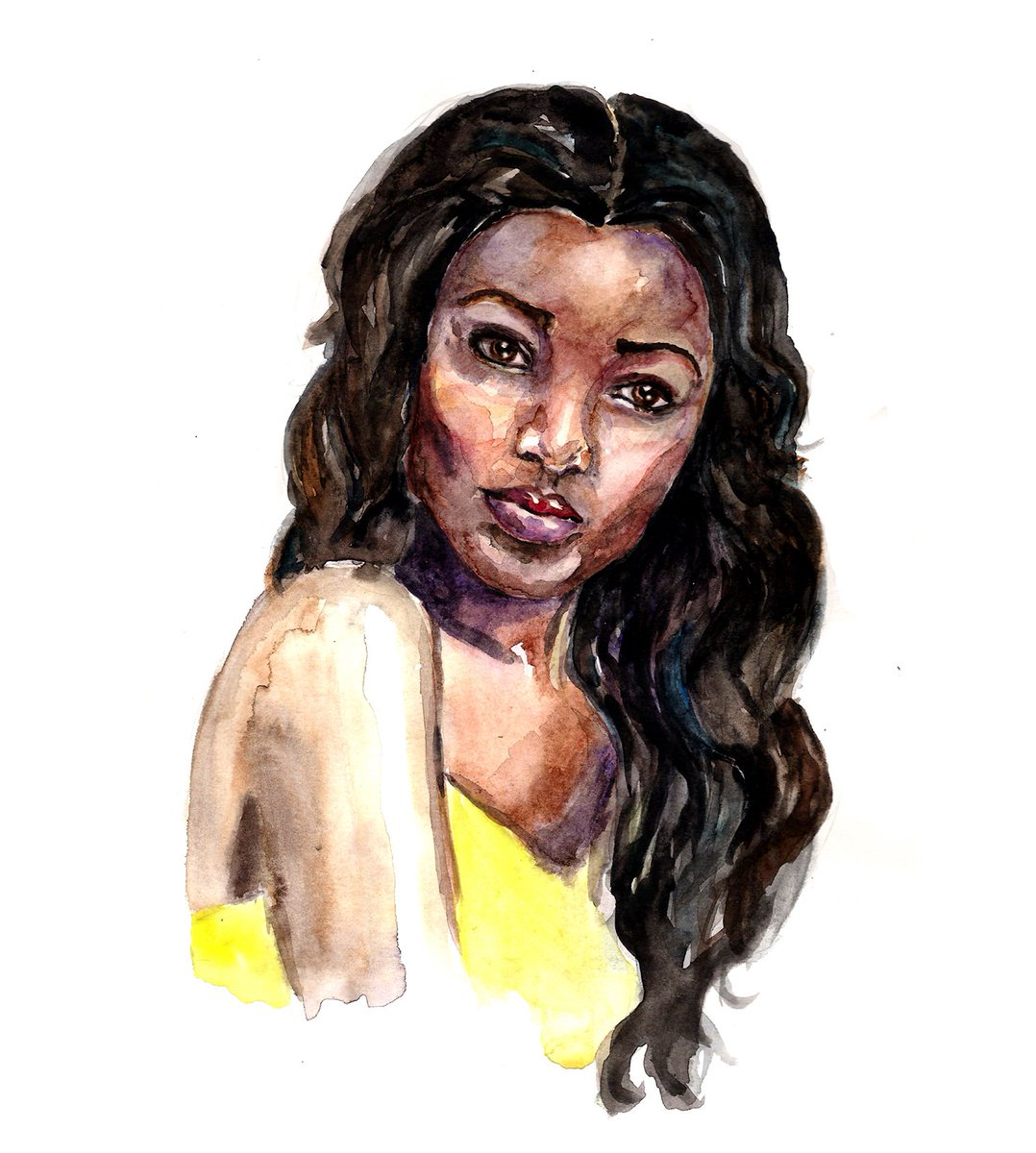 https://society6.com/product/ebony635057_print?sku=s6-7431583p4a1v45 … #print #african #american #watercolor #portrait #pretty #woman #girl #beauty #art #illustration #painting #findyourthing #prints #ethnic #black #ebony #products #naturalbeauty