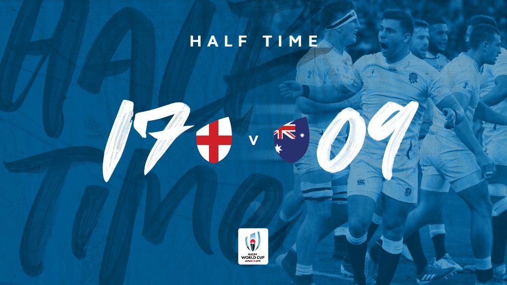 @wallabies @EnglandRugby HT at #RWCOita An entertaining and pulsating clash as @EnglandRugby hold the lead over the @wallabies Australia trail by 8 - At one point they trailed Fiji by 9 in the Pool stage and came back to win Will they do the same today? 🤔 #RWC2019 #ENGvAUS
