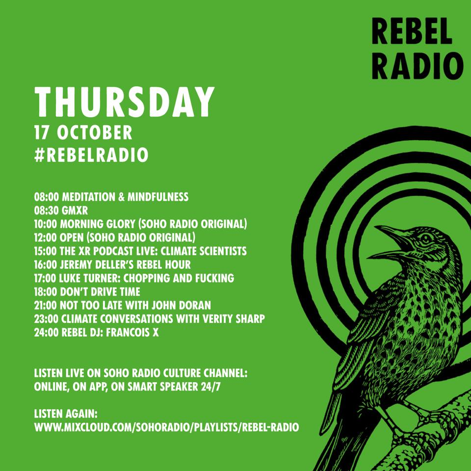 Rebel Radio! Today's schedule with @ChrisGPackham @ScientistsX @TheVerity_Of_It @DrBeckySpelman @drdcoughlin @xr_rebelradio    https:// radioxr.com /   <br>http://pic.twitter.com/EZLGupkcAT