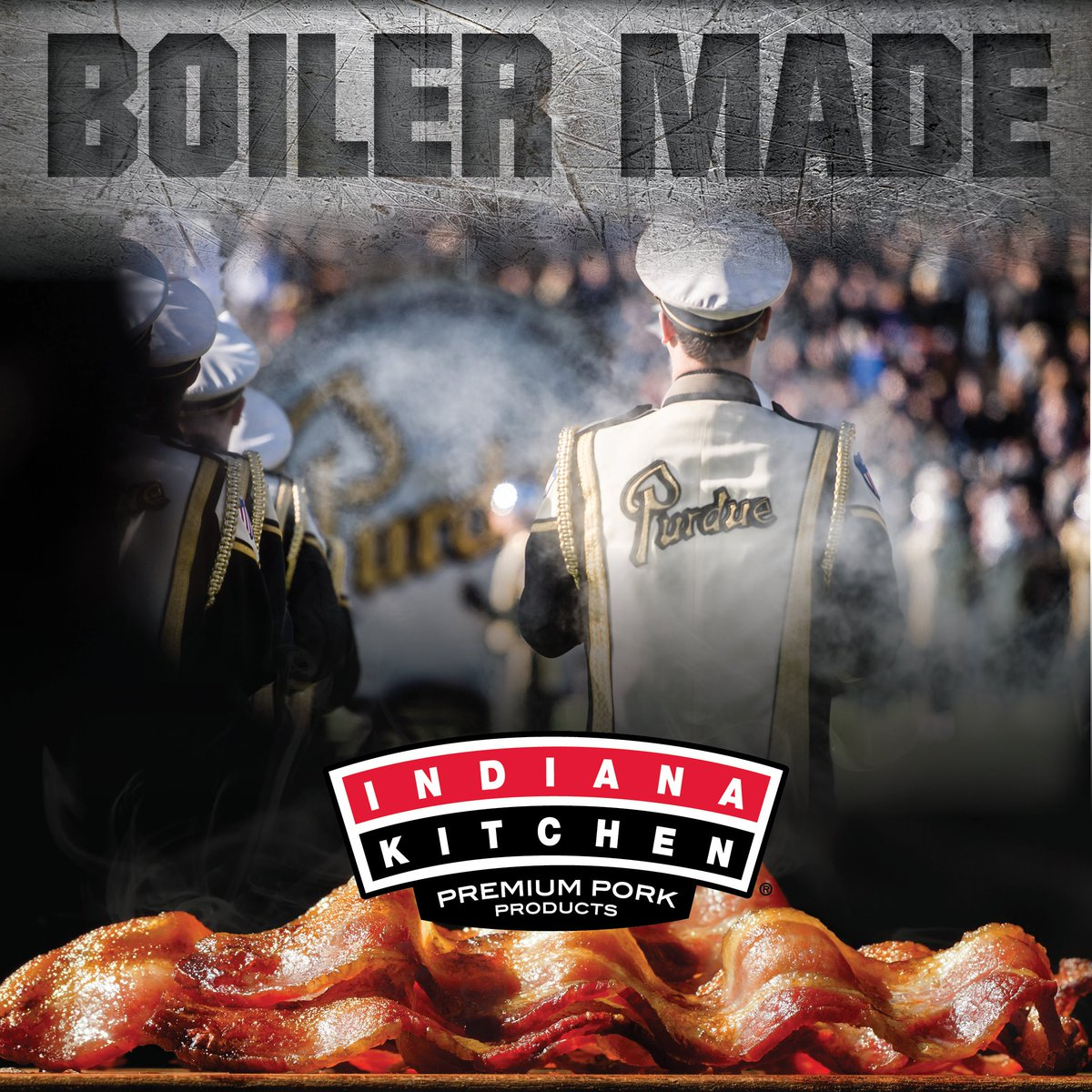 #BoilerUp! Hammer down!  It's black and gold versus black and yellow as the Boilermakers travel to Iowa this Saturday to take on the #23-ranked Hawkeyes.  Kickoff's at noon for this BIG10 Conference match-up.  Indiana Kitchen Bacon--not just locally made. Boiler made. https://t.co/DyCRV1H2kg