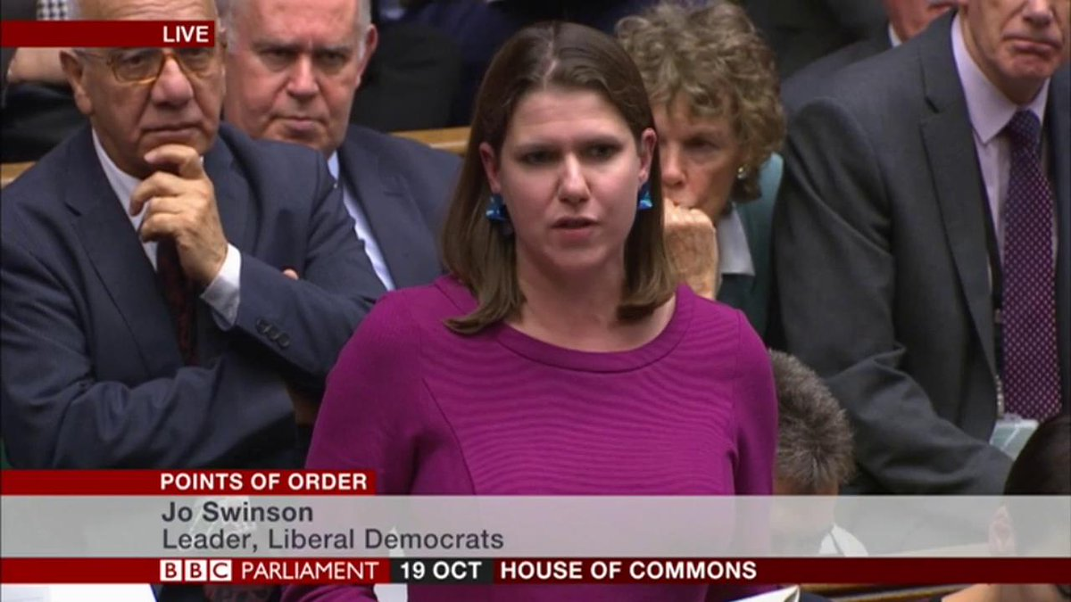 """""""The people who are outside this building right now will be heard and they deserve the final say, along with millions across the country""""Lib Dem leader Jo Swinson references anti-Brexit protesters outside ParliamentLive updates: http://bbc.in/2MvI6ER #BrexitVote"""