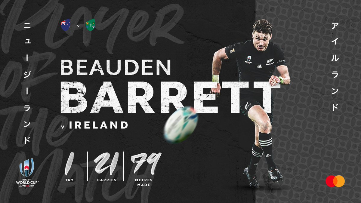 test Twitter Media - The @Mastercard #NZLvIRE Player of the Match –  Beauden Barrett 👏  Another special performance from a great player ✨  #RWC2019 #RWCTokyo #POTM https://t.co/4ZzhapiFDG