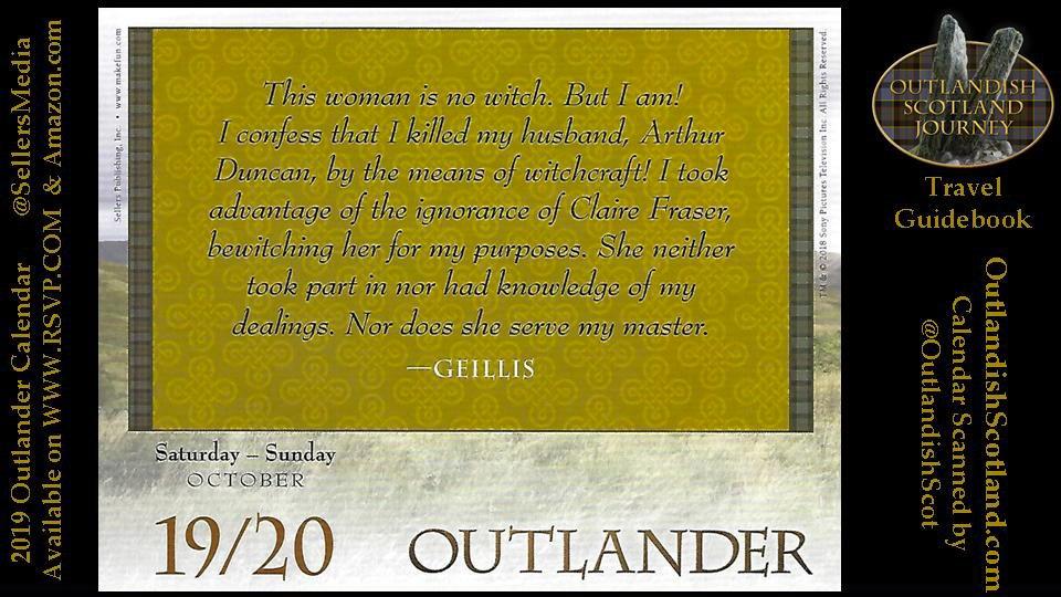 The #Outlander Daily Calendar, October 19th, 2019. It's a Geillis Takes the Rap rerun day! #OutlanderDaily
